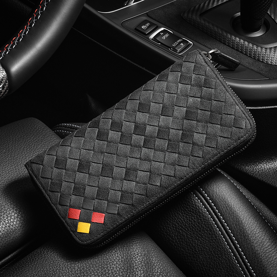 Men's Wallet Luxury Suede Woven Long Genuine Leather Zip Purse Brand Design Business High-grade Clutch Bag 2020 Fashion New Spot