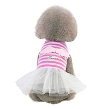 Pet Spring Summer Sling Skirt, Small & Medium Dogs Sleeveless Dress, Stripes Top with Angel Wings Sweet Gauze Skirt Z