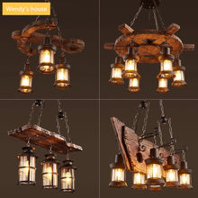 American Retro Restaurant Bar Shop Hotel Villa Imitation Boat Wood Industrial Wind Creative Loft Chandelier Lights e27