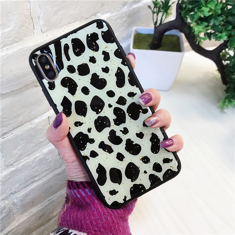Image 4 - Leopard Luxury Gold Foil Bling Phone Case Cover For Iphone XS Max XR X 8 7 6 6S Plus Luxury Soft Back Cases Fashion Capa Shell