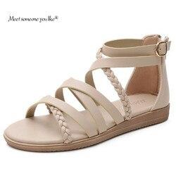 Bohemian Sandals Women 2021 New Large Size Women's Shoes 41-43 Summer Woven Roman Sandals Women Cross Strap Flat Sandals Women