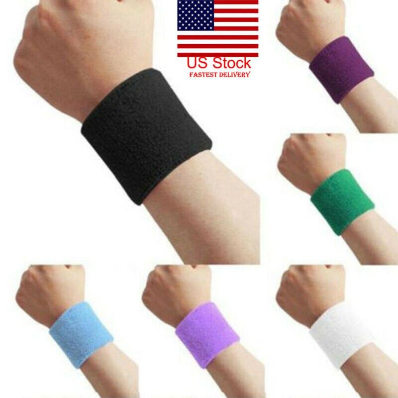 1 Pair Unisex Sweatbands Sports Wrist Tennis Squash Badminton GYM Wristband Gift Red Color