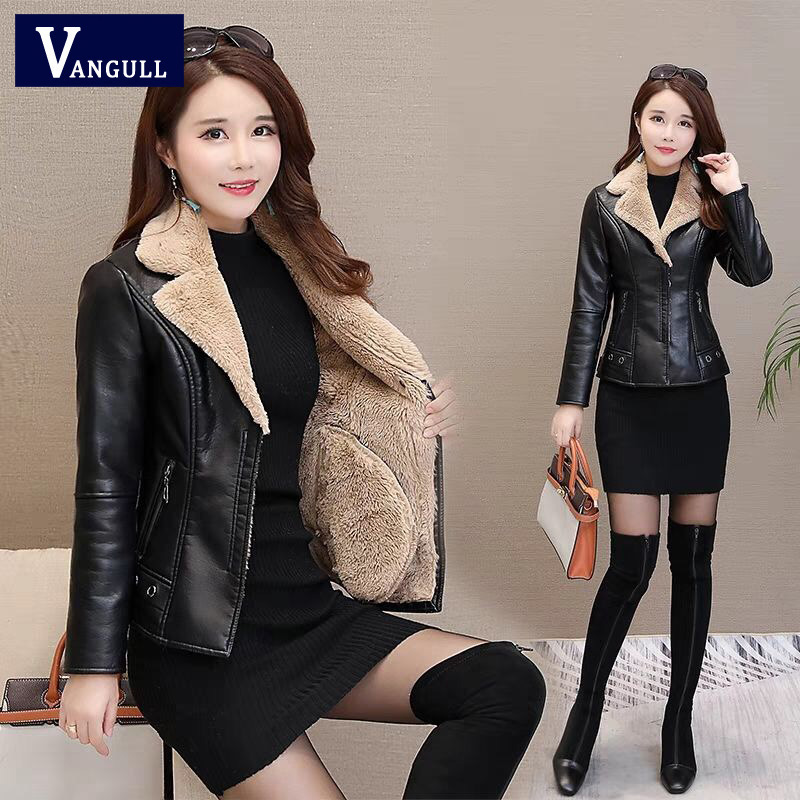Vangull 5XL Fur Collar   Leather   Coat Thick 2019 Winter Warm Jacket Fleece Liner Women PU   Leather   Coat Female Overcoat Plus Size