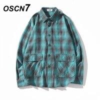OSCN7 Casual Stripe Long Sleeve Shirt Men Streetwear 2019 Fall Fashion Splice Long Sleeve Shirts Harujuku Mens Shirt XY58