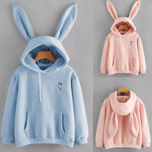 Autumn Winter Cartoon Rabbit Ear Long Sleeve Hoodies Women G