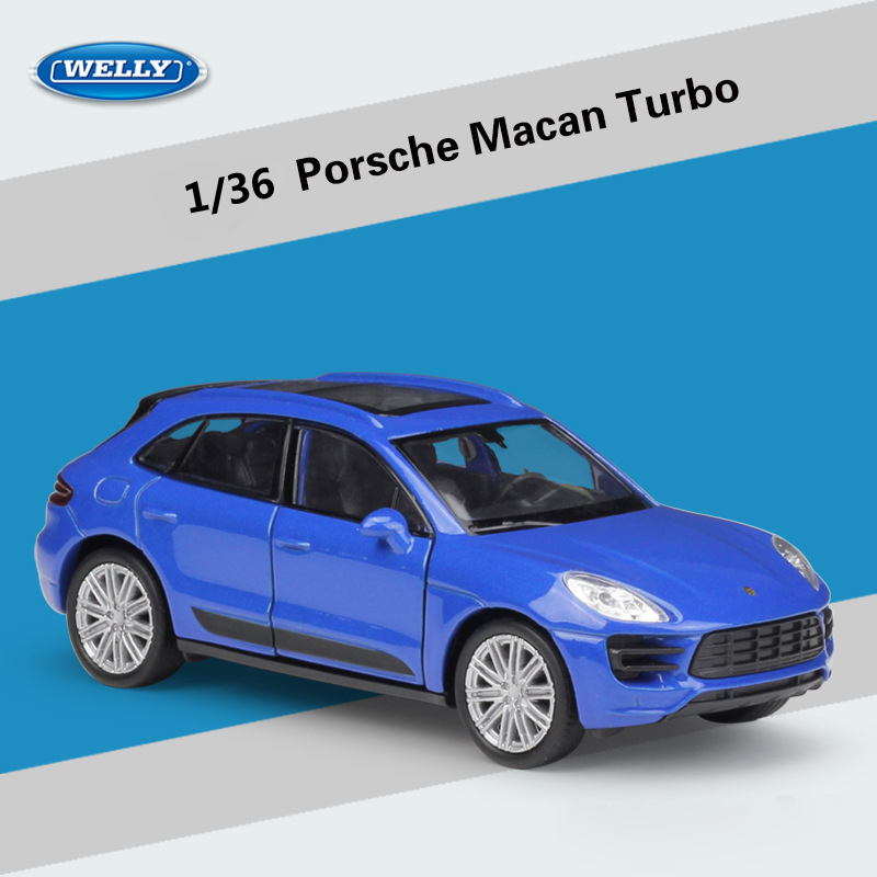 WELLY Diecast 1:36 Scale Porsche Macan Turbo Simulator Pull Back Car SUV Model Car Metal Alloy Toy Car For Kids Gift Collection