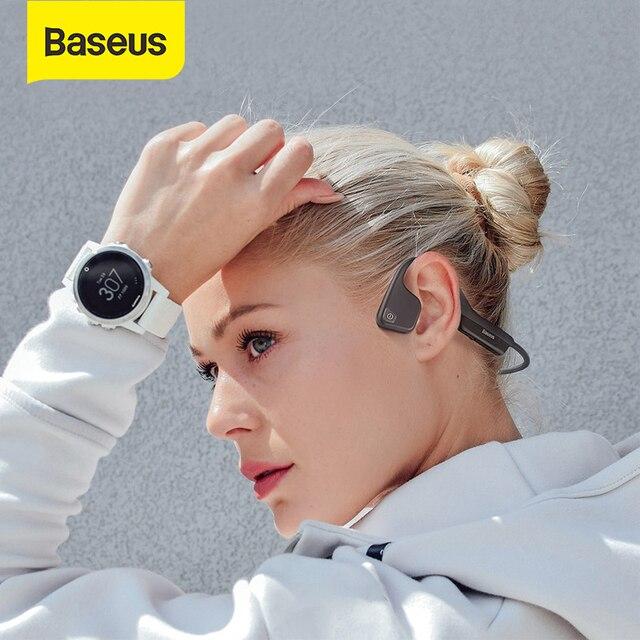Baseus Bluetooth 5.0 oreillettes de Conduction osseuse sans fil Bluetooth casque sport stéréo mains libres casque pour iPhone Xiaomi Pad