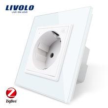Livolo – prise de courant Wifi intelligente, nouveau Standard ue, panneau en verre cristal, prise de courant murale 16a, application wifi, alexa, google home, sans logo