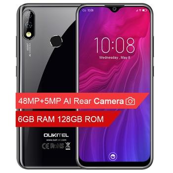 Перейти на Алиэкспресс и купить OUKITEL Y4800, 6,3 дюймов, FHD + 6 ГБ, RQM, 128 ГБ rom, Android 9,0, мобильный телефон, четыре ядра, отпечаток пальца, 4000 мА/ч, 9 В/2 А, Face ID, 4G смартфон