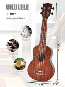 Ukulele Guitar Mahogany-Neck Beginner Delicate-Tuning-Peg Wood 21inch 4-Strings
