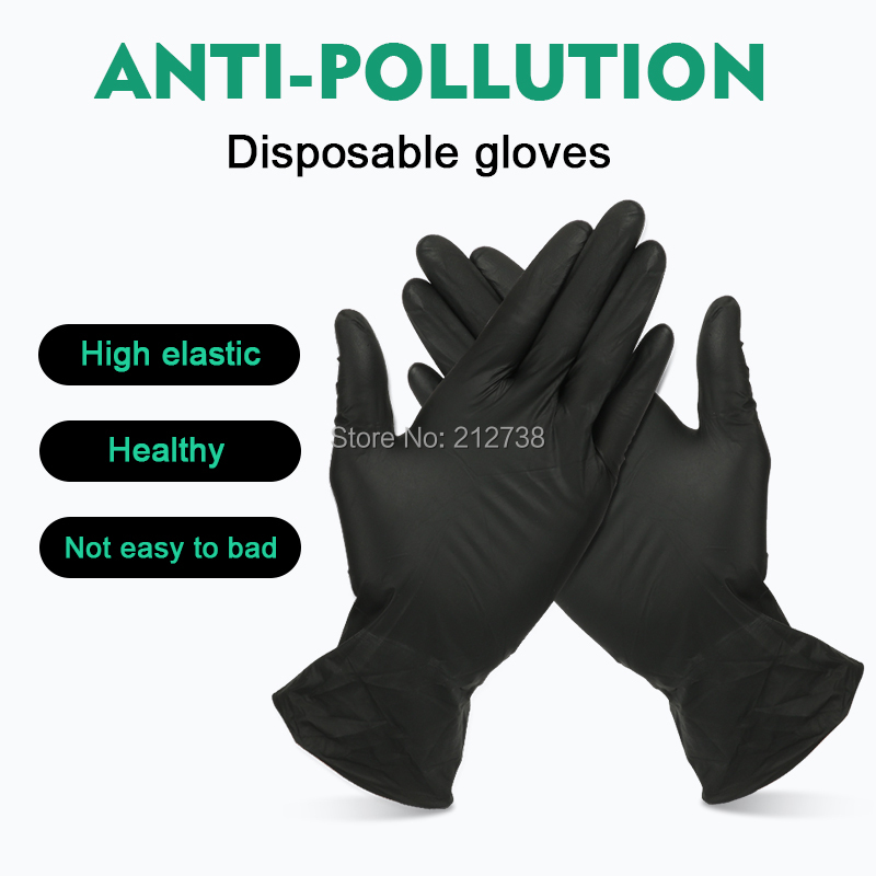 20/50Pcs Black Gloves Disposable Permanent Tattoo Gloves Latex Gloves Isolate Anti-Pollution Tattoo Accessories S M L