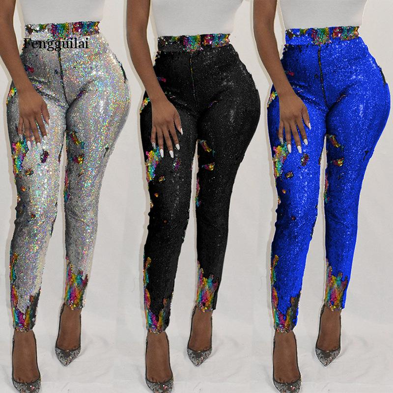 Glitter Pants Women High Waist Trousers Pencil Sequin Pants Night Party Zipper Back Shining Trousers Female Leggings