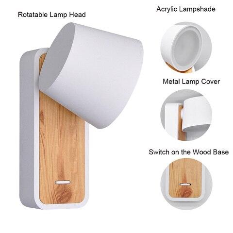 lampada de parede com base madeira