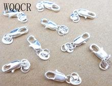 Produção por atacado de joias 20 pçs, puro real 925 prata fechos de lagosta com 925 tag para colar + abertura pular anéis de anéis