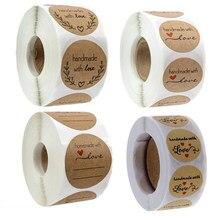 Venda quente bakeware etiqueta adesivos 1 rolo gosto negócio pedido casa feito à mão com amor adesivo casamento envelope selos