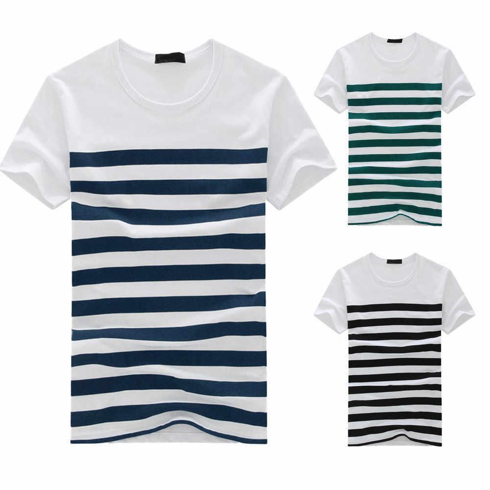 2020 新しい女性メンズ tシャツファッションカジュアルストライププリント半袖 Tシャツプルオーバートップ Tシャツ男性服 camiseta masculina