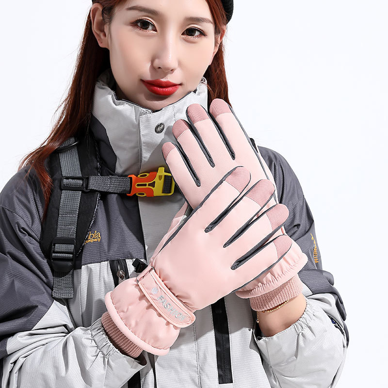 Ski Gloves Women Waterproof cold-proof With Velvet Thickening Outdoor Sports Warm Winter Driving Riding Gloves