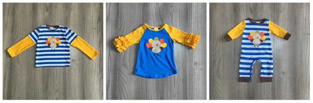 Girlymax thanksgiving fall/winter baby girls boys raglans boutique blue mustard turkey stripe cotton top icing long sleeve 1