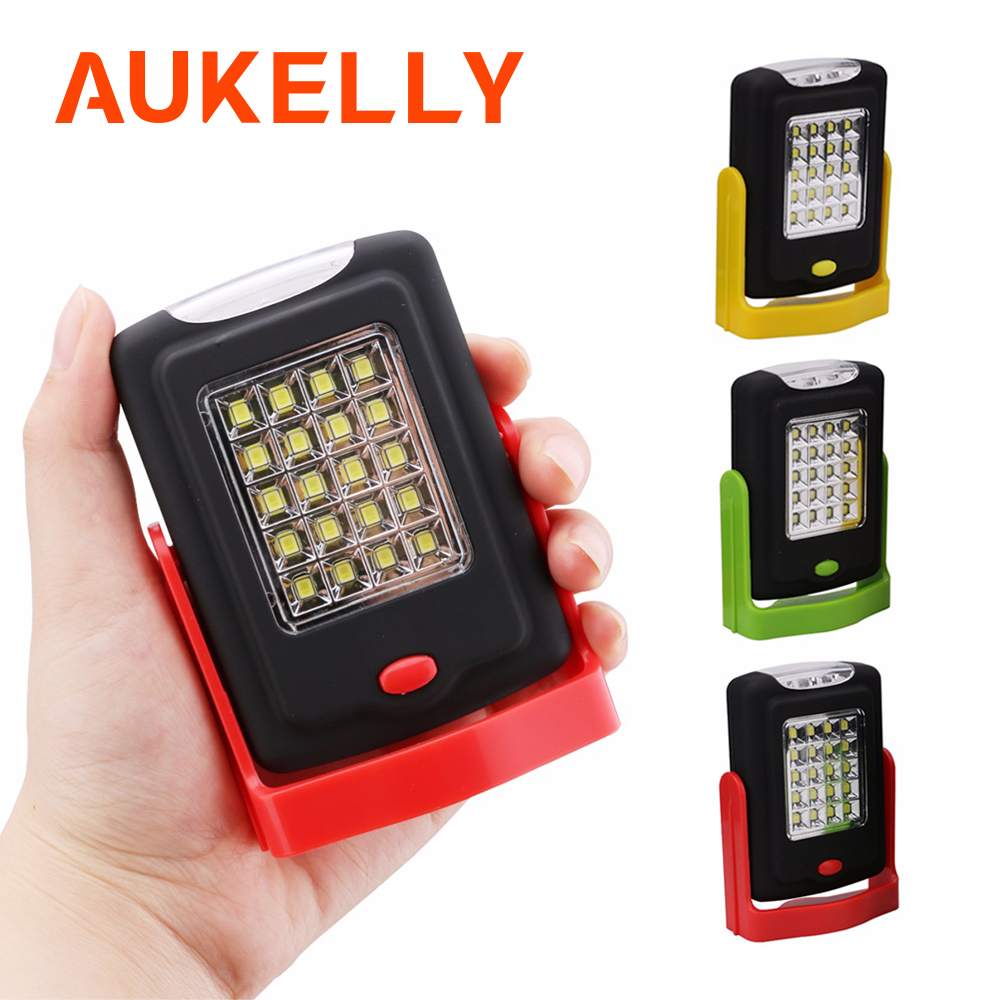 Portable LED Work Flashlight Torch Lantern Working Light Stand 23 LED 2 Modes Camping Handy Lamp Inspection With Magnet Hook