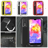 Aluminum Metal Waterproof Armor Case for Huawei P20 Pro P20 Lite P20 Shockproof Full Body with Tempered Glass Cover
