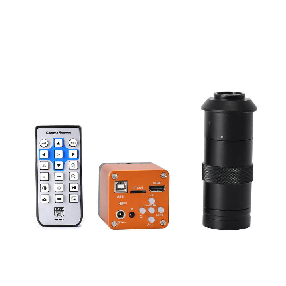 FHD 34MP <font><b>USB</b></font> Industrial Electronic Digital Video <font><b>Microscope</b></font> Camera <font><b>100X</b></font> 120X 180X 300X C Mount Lens For Phone PCB Soldering New image