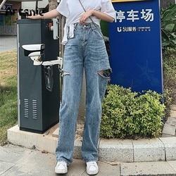 Artsnie High Waist Blue Casual Denim Pants Women Winter 2020 Vintage Hole Boyfriends Jeans Long Pants Female Loose Jeans Mujer