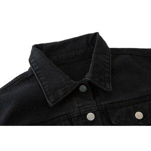 Image 5 - Женская джинсовая куртка Ordifree, модная Уличная Повседневная Свободная короткая рваная джинсовая куртка с длинным рукавом, осень 2020