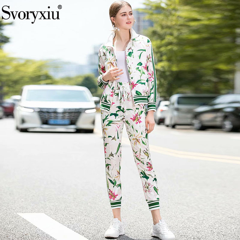 Svoryxiu Lily Flower Printed Autumn Winter Runway Fashion Two Piece Set Women's Casual Motion Trousers Twinset Female