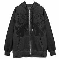 Chaqueta con capucha de estilo Hip-Hop para mujer, chaqueta con estampado de Ángel oscuro, Harajuku, de algodón, con cremallera, Top Y2k, Jersey Punk con bolsillos