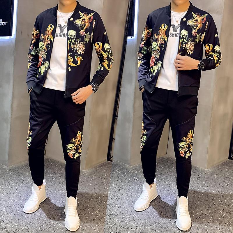 2020 Men's Set Spring Man Sport 2 Piece Sets Jacket + Pants Chandal Hombre Tracksuit Men Moda Hombre Ropa De Hombre Ropa Hombre
