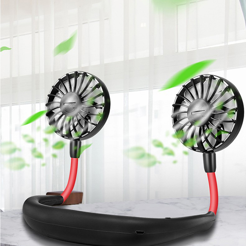 ELOOLE Personal Mini Neck Double Fans USB Rechargeable Wearable Portable Neckband Fan Air Cooler Conditioner For Home Office Car