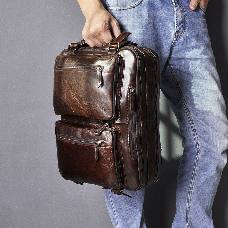 Oil Wax Leather Man Design Multifunction Purpose Coffee Maletas Maletin Business Briefcase 15
