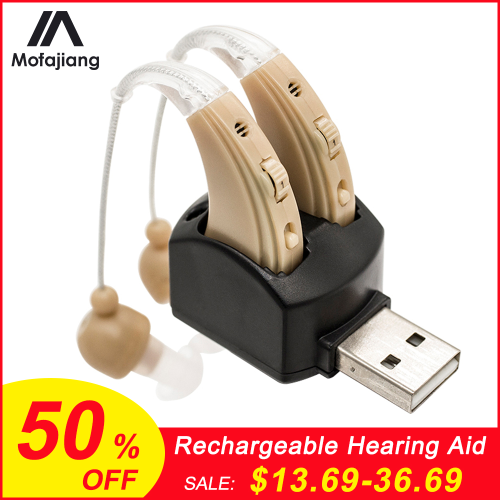 Rechargeable Hearing Aid Digital Ear Amplifier Hearing Device Sound Enhancer Behind The Ear Adjustable Volume Hearing Aids