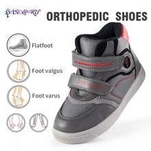 PRINCE PARD осень новая ортопедическая обувь для детей серая розовая спортивная обувь сетчатая подкладка и ортопедические стельки