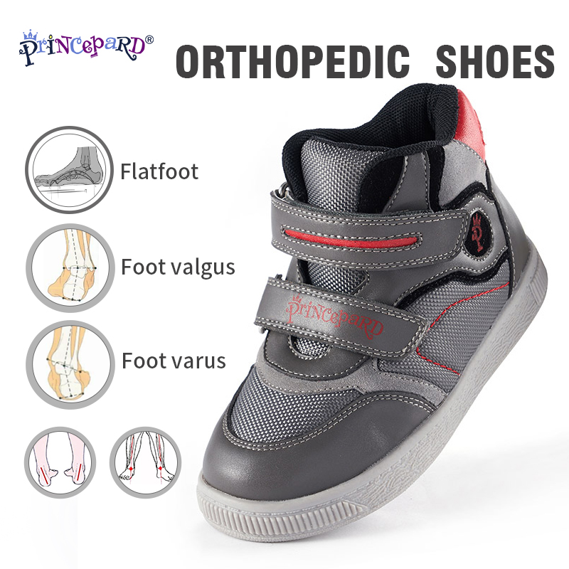 PRINCE PARD 2019 Autumn New Orthopedic Shoes For Kids Grey Pink Sports Shoes Mesh Lining And Orthpodic Insoles