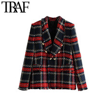 TRAF Women Tweed Blazer Vintage Double Breasted Frayed Checked Coat Long Sleeve Pockets Plaid Outerwear Chic Lady Office Tops