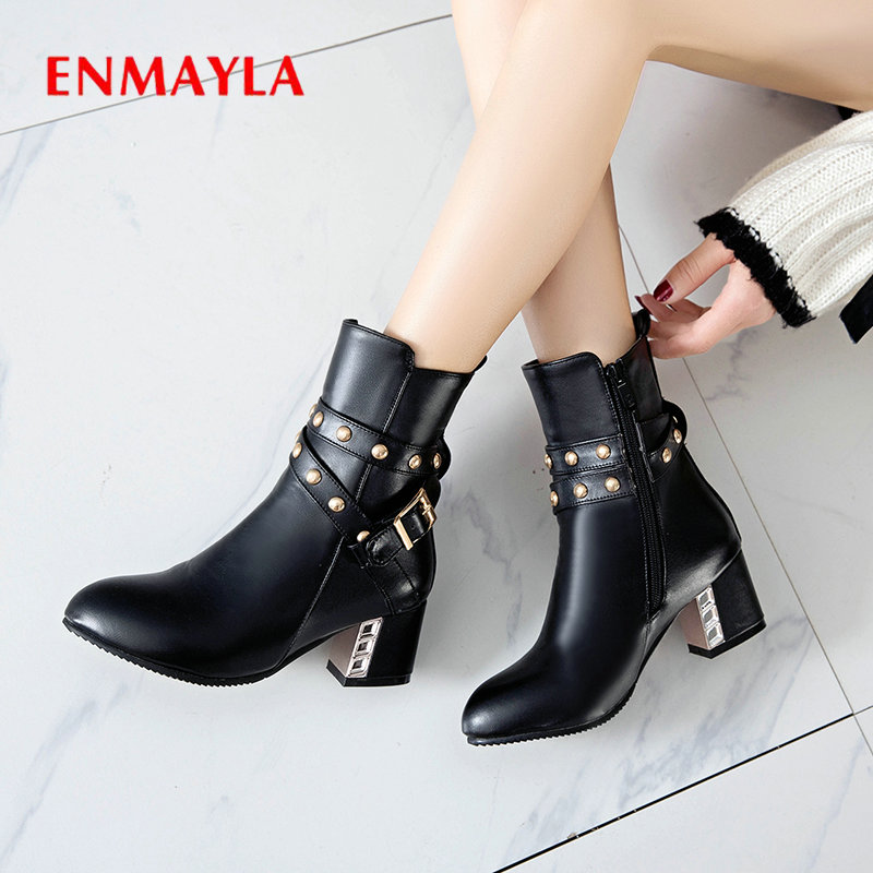 ENMAYLA PU Fashion Slip-On Ankle Round Toe Shoes Woman Square Heel Winter Boots Women Short Plush for 34-43