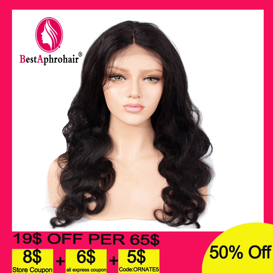 Aphro 13*4 Body Wave Lace Front Wig With Baby Hair Pre Plucked Brazilian Remy Hair Lace Front Human Hair Wigs Natural Color