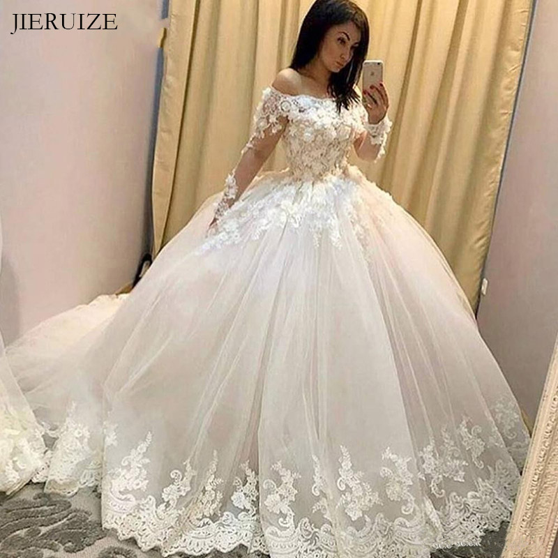 JIERUIZE White Flower Lace Appliques Luxury Wedding Dresses Long Sleeves Ball Gown Bride Dresses Wedding Gowns