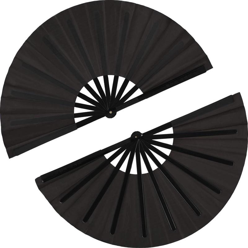 2 Pieces Large Folding Fan Nylon Cloth Handheld Folding Fan Chinese Kung Fu Tai Chi Fan Black Decoration Fold Hand Fan For Party