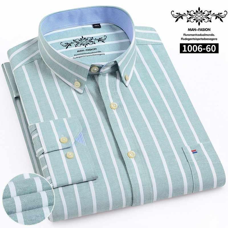 2020 男性のオックスフォードコットンファッションストライプカジュアル長袖シャツレトロスタイル高品質デザインのメンズドレスシャツブラウス