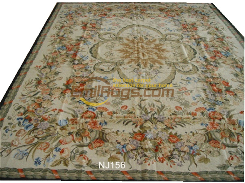 Hand-stitched Floral Needled Blanket Antique Chinese Hand-made Wool Museum Wool Rug Carpet  C156 9x12