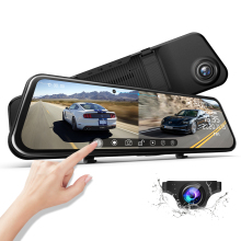 Car Dvr Rearview-Mirror Dash-Cam Streaming-Media Night-Vision AZDOME Touching Dual-Lens