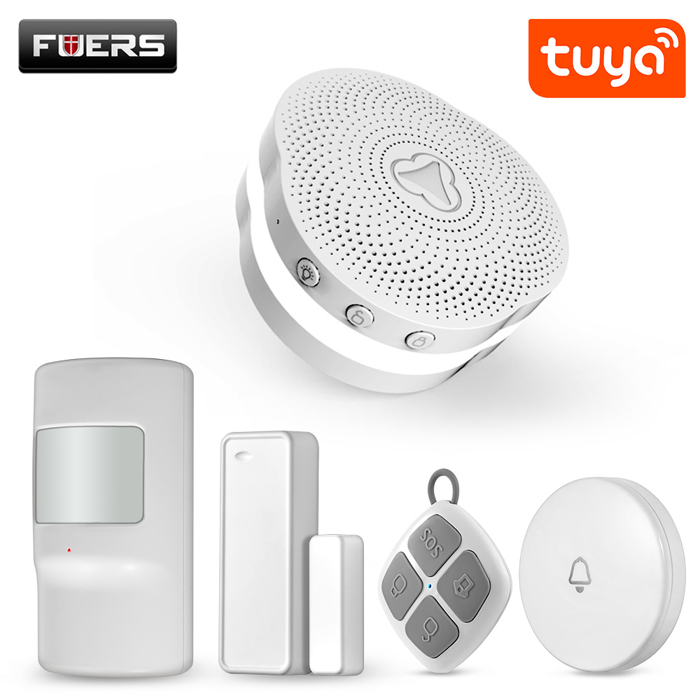 FUERS Wireless Smart Home Gateway Alarm System Tuya APP Controls Intelligent Nightlight Security System Intelligent Doorbell
