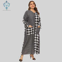 CUERLY casual V-neck plaid striped long sleeve plus size dress women 2019 double pocket fashion loose thin summer maxi dresses fuzzy double pocket loose dress