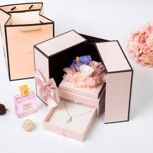 Image 5 - 2020 подарок на день Святого Валентина, мишка тедди, роза, двухдверная Подарочная коробка, женский день, годовщина, Рождество, подарок