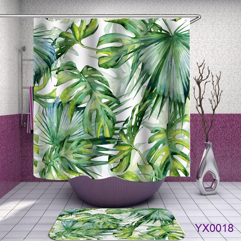 Tropical Shower Curtains 3D Green Shower Curtain Bath Fabric Shower Curtains Bathroom Waterproof Curtain Shower Or Mat