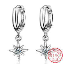 Nueva moda colgante con forma de estrellas pendientes del encanto de la plata esterlina 925 bien pendientes de la joyería para las mujeres accesorios S-E967