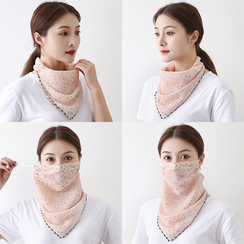 AWAYTR 26Colors Summer Outdoor Sunscreen Mask Scarf Chiffon Neck Scarf  Large Area Occlusion Silk Mask Multi-function Lugs Scarf