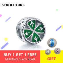 StrollGirl New 925 Silver Four Leaf Clover Beads green Enamel Charms Fit DIY Pandora Bracelets For Jewelry Making Gifts